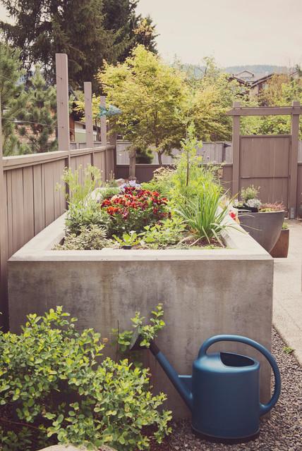 raised concrete planter modern-landscape