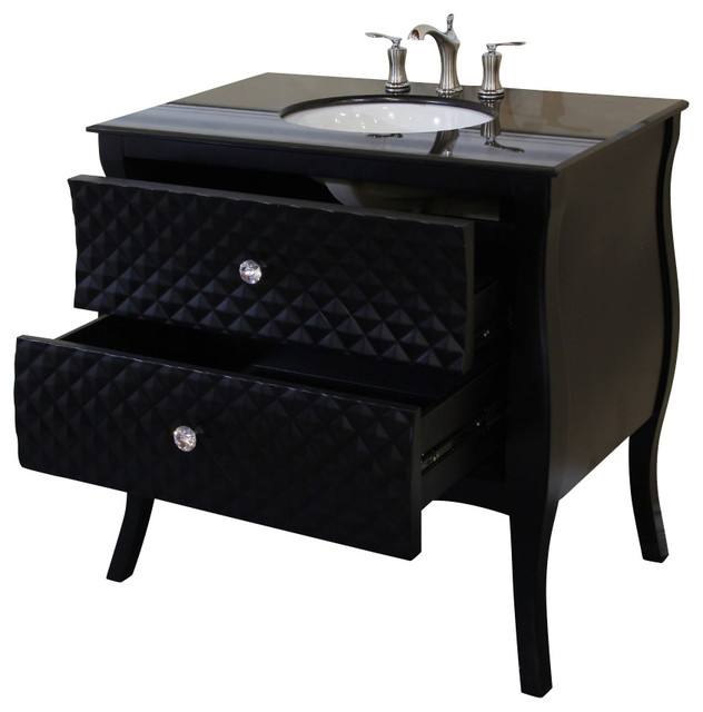 354 Inch Single Sink VanityWoodBlackWhite Phoenix