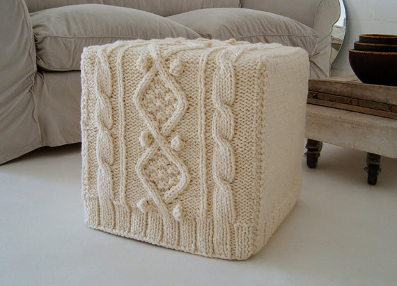 Knitted Ottoman Slipcover by BiscuitScout  Eclectic
