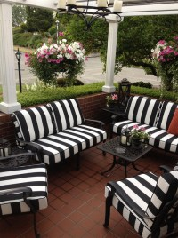 Black and White Striped Outdoor Furniture Cushions ...