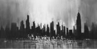 Monochrome Cityscape Wall Art - Contemporary - Artwork ...