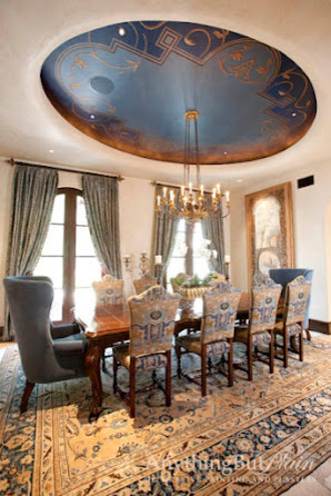 Dramatic Blue Oval Dining Room Dome