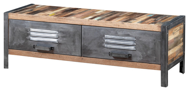 Locker Style TV Unit Made Of Recycled Wood And Metal