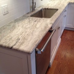 Beachy Living Room Wall Colors Pop Ceiling Designs For India Terra Bianca Quartzite - Beach Style Kitchen New York ...