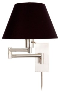 Monroe II Black Shade Plug-In Swing Arm Wall Light ...