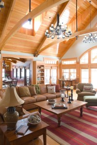 Adirondack Style timber frame Living Room - Traditional ...