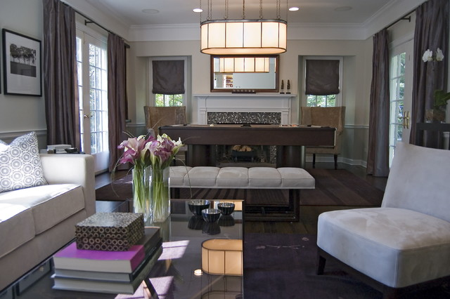 Contemporary Living Room With Pool Table Contemporary
