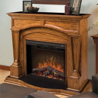 Hampton Oak Electric Fireplace Mantel Package