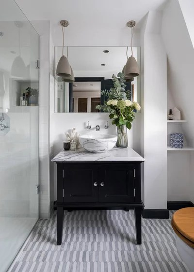 Transitional Bathroom by Lauren Caisley Interiors