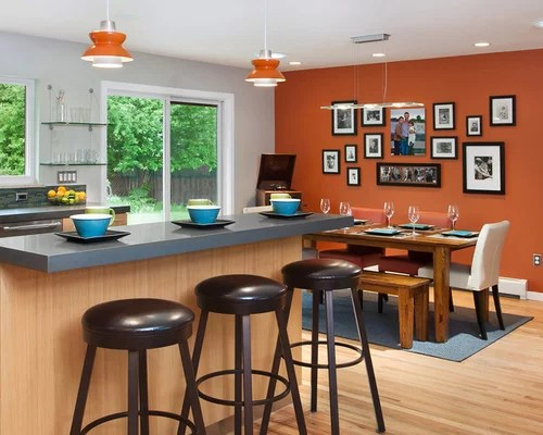 View In Gallery Daring Addition Of Orange And Blue The Kitchen