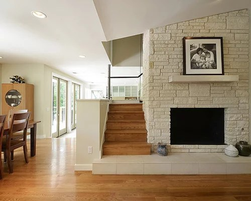 Ethanol Fireplace With Mantle Fireplace Stair Landing Ideas, Pictures, Remodel And Decor