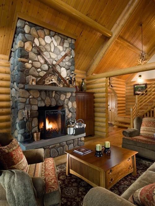 Ski Lodge Fireplace  Houzz