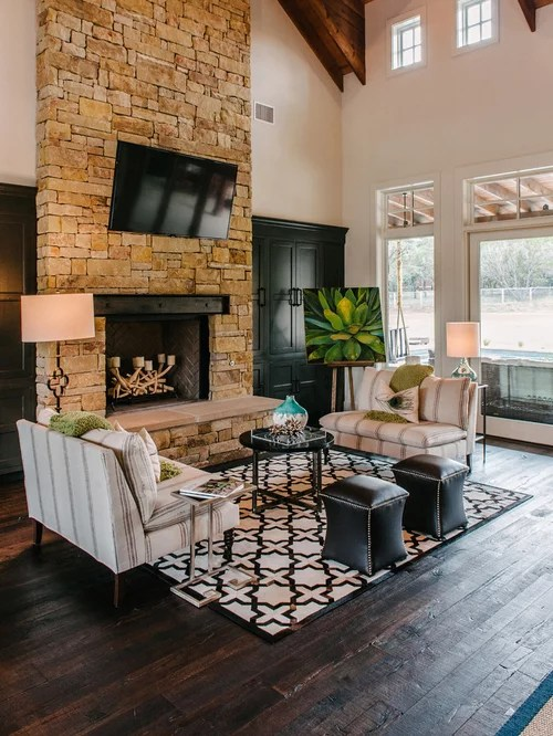 Shiplap Wall With Fireplace Dark Rustic Wood Floor | Houzz