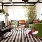 isle of palms beach chair company pier one rattan cowhide rug, barcelona and vintage print - eclectic living room los angeles by ...
