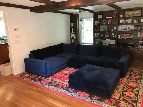 area rug advise for blue velvet sectional