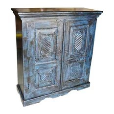 Mogul Interior - Consigned Sideboard Blue Storage Cabinet - Gorgeous antique blue patina hand crafted rustic armoire from India. Ravishingly Crown molding crafted at top and scalloped arch carving at bottom of the cabinet. It is having Two hinged doors that open on the side and two shelves. Specializing in one of a kind vintage, shabby cottage chic and rustic furniture and antiques.