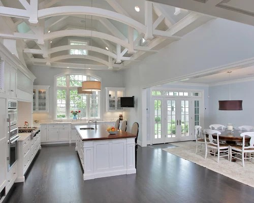 remodeling open kitchen living room stainless steel top island vaulted beamed ceiling home design ideas, pictures ...