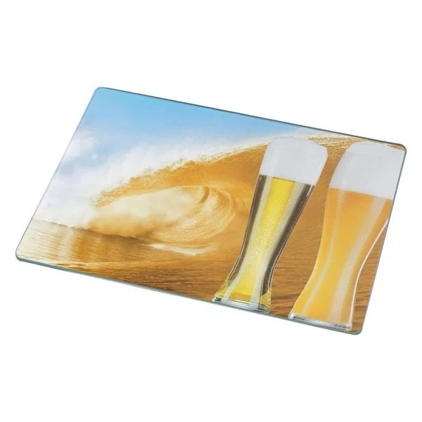 Glasses Of Beer On Beer Wave Cutting Board