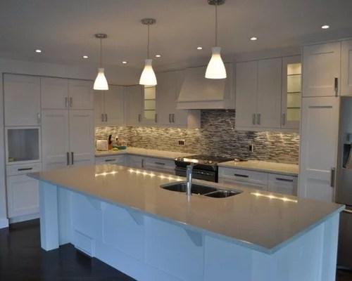 craftsman kitchen backsplash trashcan best caesarstone quartz reflections design ideas & remodel ...