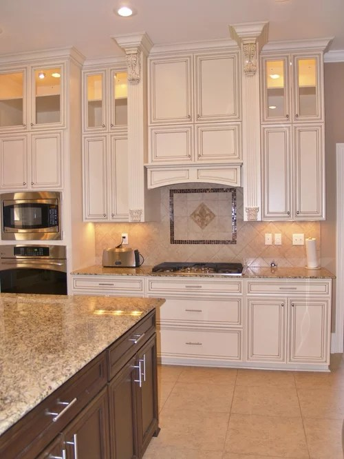 kitchen makeover on a budget trash can pull out fleur de lis backsplash | houzz