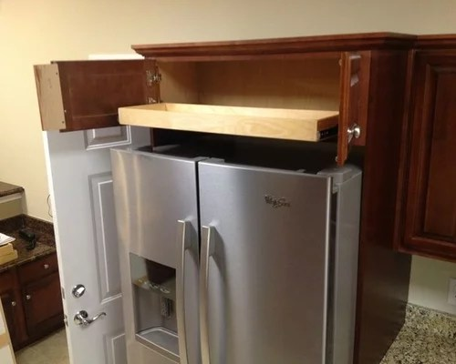 kitchen base cabinet pull outs antique metal above fridge & oven solutions