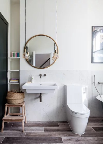 Transitional Bathroom by Trevor Brown Architect