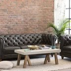 beige and brown leather sectional sofa with built in footrests single size bed canada oliver simon design loft project - industrial living ...