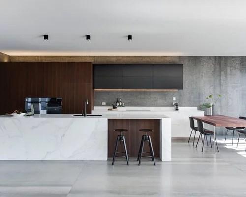 Modern Kitchen with Gray Backsplash Design Ideas & Remodel