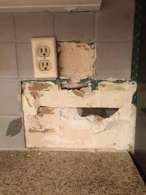 kitchen backsplash removal gone wrong