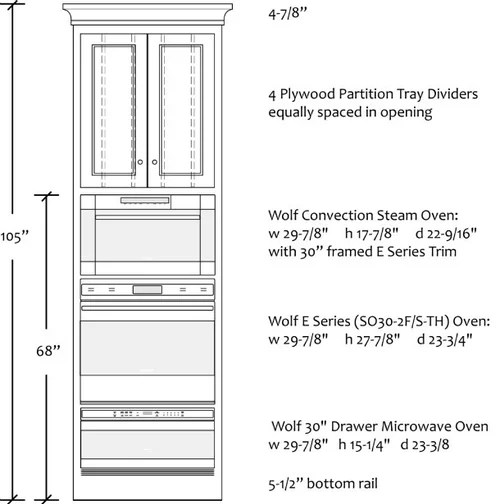 triple oven combo s height of units