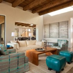 Teal Accents Living Room Farmers Furniture Sets Beige With Accent Ideas Photos Houzz Example Of A Large Southwest Formal And Open Concept Light Wood Floor Design In