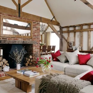 formal living room with brick fireplace indian colour ideas red and photos houzz inspiration for a rural in other white walls medium hardwood flooring