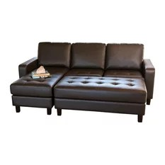 leather sectional sofas fix springs in sofa 50 most popular for 2019 houzz abbyson living mason tufted reversible and ottoman brown