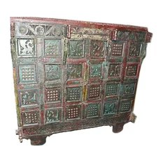 Mogul Interior - Consigned Sideboard India Boho Rustic Red Green Tribal Patina Carved Furniture - A desert area elegant buffet sideboard Manjoosh. Beautifully hand crafted and made of teak and sheesham wood.Nice combination of green and red color is helpful to keep cool from inside embellished with peacock and chakras deeply exotic engraved. Peacock symbolizes elation, joy and chakras is the strength wheel