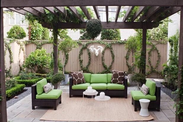 Transitional Patio by Sally Wheat Interiors
