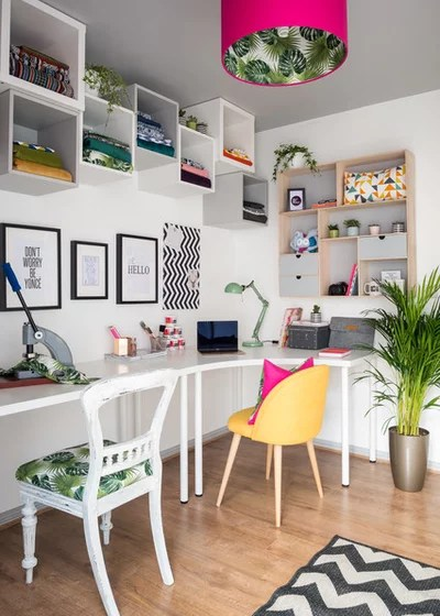 Eclectic Home Office by Victoria Hopkins Interiors