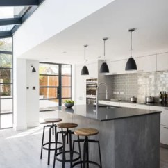 Gray Kitchen Floor Oval Tables Grey Wood Ideas Photos Houzz Mid Sized Contemporary Designs Example Of A Trendy Galley