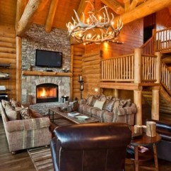 Cabin Style Living Room Ashley Furniture Set Small Log Ideas Photos Houzz Example Of A Mountain Design In Dallas With Stone Fireplace