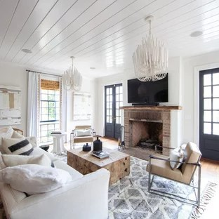 small living room ideas with brick fireplace lake house design 75 most popular farmhouse a example of enclosed medium tone wood floor and brown in