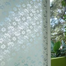 Patterned Decorative White Window Film Frosted Gl Line Pattern
