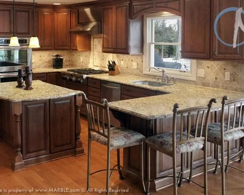 Santa Cecilia And Golden Butterfly Granite Kitchen