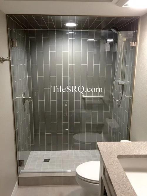 4X16 Ceramic tile installed in a vertical running bond in