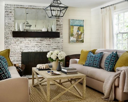 formal living room with brick fireplace decorating a small corner beach style design ideas, remodels & photos ...