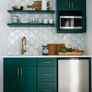 green kitchen cabinets small island with chairs 75 most popular design ideas for 2019 transitional open concept appliance example of a single wall laminate