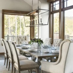 Living Room Table Decor Farmhouse Chairs Dining Ideas Houzz Transitional Dark Wood Floor And Brown Idea In Denver With