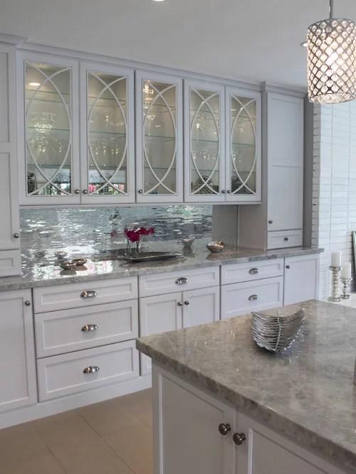metal kitchen backsplash maple island mirror tile | houzz