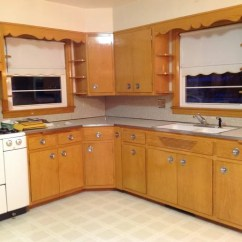 Blonde Kitchen Cabinets Garbage Disposal Updating A 1956 With Colored It Is Ranch We Are Eventually Going To Build An Island And Thinking Painting Blue I Am Sw6517 Regatta By Sherwin Williams