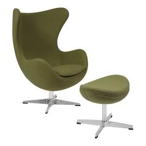 office chair qvc bedroom design ideas image 1 egg with tilt lock mechanism and ottoman grass green wool fabric