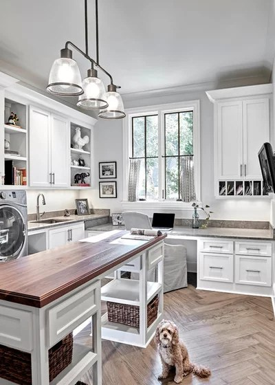 Transitional Laundry Room by Looney Ricks Kiss
