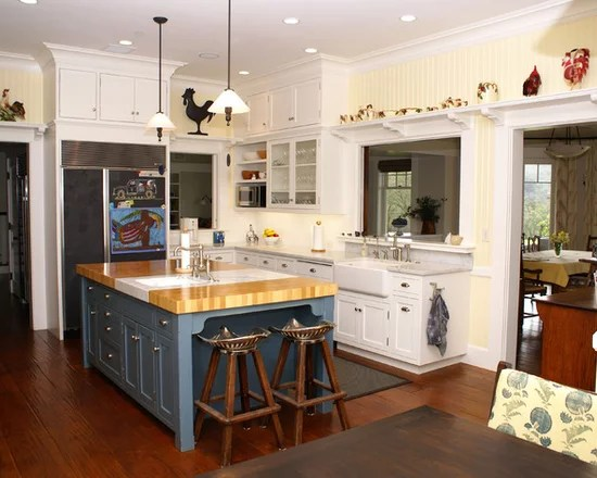 white kitchen island with butcher block top memory foam rugs blue | houzz